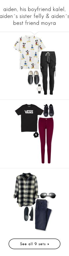 """""""aiden, his boyfriend kalel, aiden´s sister felly & aiden´s best friend moyra"""" by heymishiehere ❤ liked on Polyvore featuring Uniqlo, Rick Owens, Vans, Daniel Wellington, Oasis, American Apparel, men's fashion, menswear, Lands' End and Rails"""