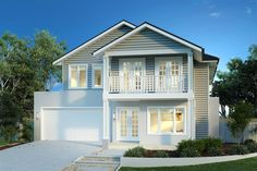 The Hampton's Style- Timber panelling and fretwork, with a pastel colour palette. Die Hamptons, Hamptons Style Homes, Home Building Design, Building A House, House Design, Facade Design, Custom Home Designs, Custom Homes, Two Storey House