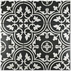 The popular Arte Series now comes in a sample size. Drawing inspiration from artisan cement tiles, the Merola Tile Arte Black Encaustic Porcelain Floor and Wall Tile - in. White Bathroom Tiles, Bathroom Floor Tiles, Wall Tiles, Tile Floor, Downstairs Bathroom, Arte Black, Unique Tile, Black And White Tiles, Black White
