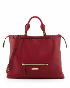 Drawstring+Leather+Tote+Bag,+Crimson+by+Burberry+at+Neiman+Marcus.