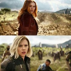 Look at the ditch behind Wanda.... did she push Thanos or something?!?!