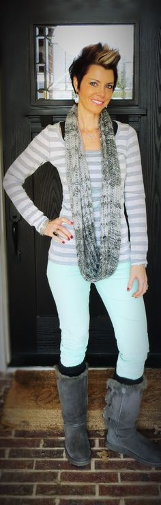 Mint Skinnies, Gray, Stripe, Outfit, Fashion