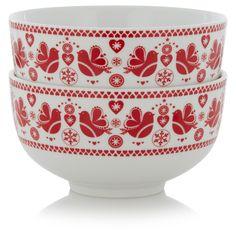 George Home Lovebird Bowls - Set of 2 | Tableware | ASDA direct