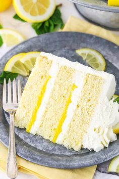 Looking for the ultimate lemon dessert recipe? This Lemon Mascarpone Layer Cake is it! Made with moist lemon cake, lemon curd & whipped mascarpone frosting!