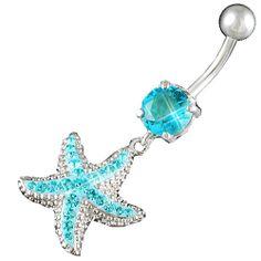 "14Gauge (1.6mm), 3/8"" Inch (10mm) starfish Aquamarine Swarovski Crystal Ferido dangle belly dangling navel button ring dangly bar AFYH - Pierced Body Piercing Jewelry $13.00"