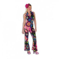 Retro Hippie Overall Kostüm Damenkostüm Hippiekostüm