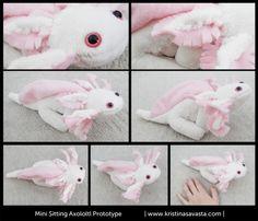 First sitting axolotl plush prototype. Both machine & hand sewn.