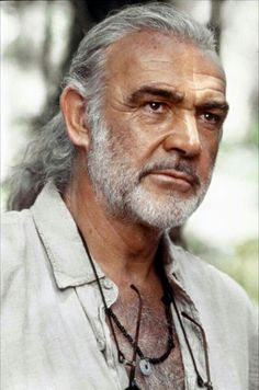 "Sean Connery ~ Met the cinematographer for this movie ""The Medicine Man"" ~ So, interesting! I a huge fan of Sean Connery ~ since I was a very young child watching watching ~ Loved it then love it still. Older Mens Hairstyles, Top Hairstyles, Actrices Hollywood, Sean Connery, Hommes Sexy, Ageless Beauty, Jolie Photo, Actors, Grey Hair"