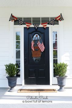 Easy to do Patriotic Porch - hanging baskets with flags in it for the door, red, white, and blue pendant flag from Hobby Lobby over the door, everything held up with Command hooks Southern Porches, Holiday Fun, Holiday Decor, Home Of The Brave, 4th Of July Decorations, Front Door Decor, Front Porch, Porch Decorating, Decorating Ideas