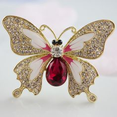 Wholesale Jewelry Shining Butterfly Crystal Brooches 3 pcs/Lot - Brooches -US$ 13.1