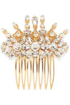 $1,689 DOLCE & GABBANA Gold-tone, Swarovski crystal and faux pearl hair slide