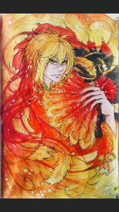 Suzaku ^^ my oc~ own_character manga anime drawing traditional_art fire feathers four_beasts colorful manga_style anime_style anime_boy