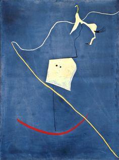 Como Dali, Joan Miro pinto suenos tambien. Hay un caballo y una figura con una latigo. El latigo vaga por la obra en una linea que dirige los ojos.