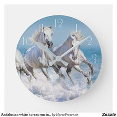Andalusian white horses run in the waves round clock Horse Water, Horse Galloping, White Horses, Wall Clocks, Hand Coloring, Dog Design, Party Hats, Funny Cute, Black And Grey