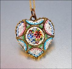 Italian Micro Mosaic Heart Necklace Vintage Pendant 1930s Jewelry