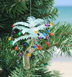 Glass Palm Tree With Lights Ornament