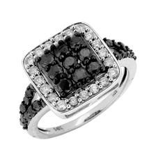 1 1/2 ct Noir Collection Black & White Diamond Ring in 14k White Gold.