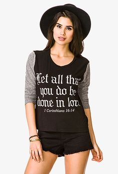Well, look at that, Forever 21 is printing Bible verses on their apparel! We're cool with that :) #fashion #tee #Forever21