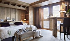 Hotel Barmes de l'Ours - a five star luxury hotel in Val d'Isere, France. Luxury tailor made ski holidays with Kaluma Travel. Modern Bedroom Furniture, Bedroom Decor, Modern Bedrooms, Val D'isère, Luxury Accommodation, Luxury Hotels, Spa, Bedroom Pictures, Scandinavian Bedroom