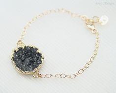 Black Druzy Bracelet 14k Gold Filled Chain by AmyJillDesigns,