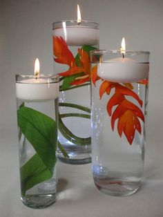 centerpiece ideas  -  ginger blooms in water