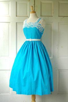 1950s Azure Cotton Dress / Vintage Blue Summer Dress. $135.00, via Etsy.