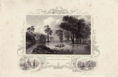 Albany From Van Renssalakers Island Antique Print Circa 1850