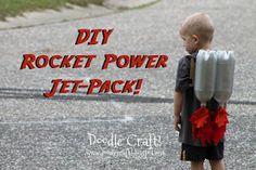 Kids Super Sci-Fi Rocket Fueled Jet Pack Made for Pennies!: Create a Super sci-fi rocket jet pack for your little rocketeer! Easy to make with recyclables you may already have! Jet Packs, Rocket Power, Rocket Ships, Diy For Kids, Cool Kids, Kids Fun, Diy Rocket, Reuse Plastic Bottles, Plastic Milk