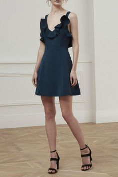 Keepsake Bitter Sweet Dress in Navy is an elegant style mini dress in a mid weight fabric with a fit and flare style skirt. Featuring aplunging v neckline with frilled trim and thick straps with low back andfinishing itwith a cinched in waist and invisible zip closure will definitely make you look spectacular.Pair itwith strappy nude heels and gold statement jewels and the spotlight will be on you.   Bittersweet Dress Navy by Keepsake. Clothing - Dresses - Wedding Wear Clothing…