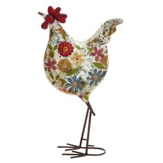 Found it at Wayfair - Floral Metal Rooster Figurine