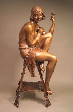 SENSUAL ART DECO LADY WITH CHAMPAGNE BRONZE SIGNED SCULPTURE ~ Erte