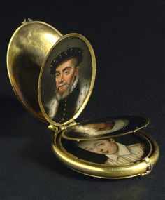 wine-loving-vagabond:  A locket containing eight family portrait miniatures, circa 1600.Dutch School.Oil on copper.This particular example is most unusual and personal, as it holds eight portraits of the same family. Possibly these were copied from large oil portraits, as they span several decades in terms of dress. Typically, they are by an unknown artist but were probably painted in Germany or Holland. This proposal is further substantiated by the frame, which bears a close resemblance to…