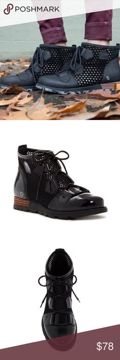 *Final Price* NWOT Sorel mesh/patent boot black Brand new Sorel mesh/patent leather boot. Size 8. No box! Super love these boots but got them a half size too small! Make my loss your gain! This is the lowest I will go on these boots. Most on posh of this style is going for 75-100 dollars. You do qualify for 10% if you bundle! Take a peak at the rest of my closet 😊 Sorel Shoes Ankle Boots & Booties