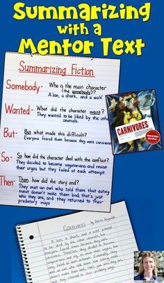 """Writing a summary is simple when you use the """"Somebody Wanted But So Then"""" summa… Reading Lessons, Reading Resources, Reading Strategies, Reading Skills, Guided Reading, Teaching Reading, Library Lessons, Reading Activities, Learning"""