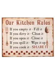 15,50€ Kitchen rules- kyltti