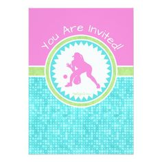 Golly Girls Tri-Pastel Color Softball With Aqua Tile Birthday Party Invitation