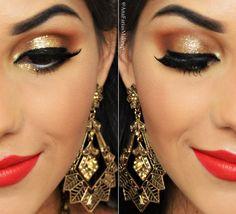 Tutorial de Maquiagem para o fim do ano + makeup glitter + brillhant gold Mac + makeup gold + maquiagem com glitter dourado