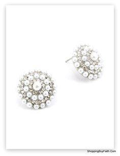 Pretty Round Target Designed Pearl and Rhinestone Stud Earrings.  ShoppingBuyFaith.Com