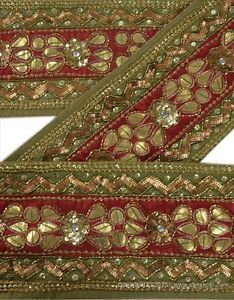 ANTIQUE-VINTAGE-SAREE-BORDER-HAND-BEADED-CRAFT-TRIMS-LACE-5-5-W-MAROON-GREEN
