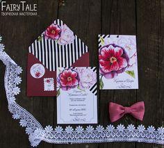 """Купить Приглашение на свадьбу """"Акварельные цветы"""" - бордовый, приглашение, пригласительное, приглашение на свадьбу, свадебная полиграфия"""