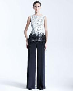 Carolina Herrera Sleeveless Lace Blouse & Silk Crepe Pants - Bergdorf Goodman