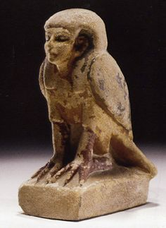 "Egyptian polychrome sandstone Ba bird, 7 1/2"" high. A depiction of the soul of the departed, c. 1st Century B.C.-1st Century A.D."