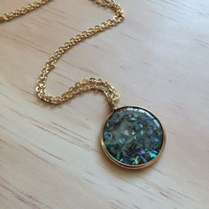 Blue and Green Fleck Shell Pendant Necklace, Green, Blue, Gold, Long Necklace, Shell Necklace, Circle Pendant by LeafRiverJewelry on Etsy