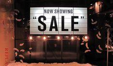 "Replay ""now showing sale"" window display 2012 - best window Window Display Design, Shop Window Displays, Store Displays, Display Windows, Retail Windows, Store Windows, Best Windows, For Sale Sign, Sale Signs"