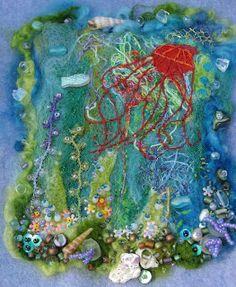 Elizabeth Creates: Under Sea Fantasy with Wool, Thread Scraps and Beads