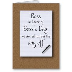Boss Card  Supervisor Thank You Card  Funny Appreciation Card