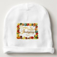 Vintage Happy Thanksgiving Colorful Leaves Baby Beanie - thanksgiving day family holiday decor design idea