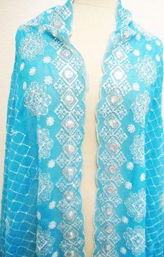 Vintage Dupatta Turquoise Blue Long Indian by Orangebirdofparadise