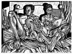 Genesis, In The Beginning a linocut - woodcut print by New Orleans artist Steve Prince
