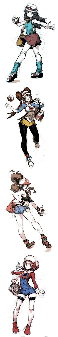 Pokemon Trainer girls: Leaf, Rosa, Hilda, Lyra